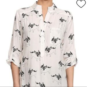 CALS French bulldog 3/4 sleeve shirt!
